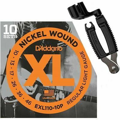 10 Pack  D'Addario  EXL110 Electric Guitar Strings 10 - 46  With Pro Peg Winder