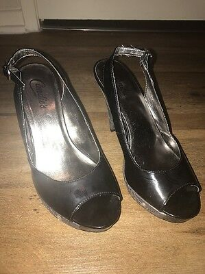 """Lady's """"Candy's"""" Black/Dark Sliver Shoes With Crystal Stones In Size 8 M"""