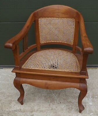 Antique-Style Armchair Desk Captain's Chair with Bergere Seat & Back, needs tlc