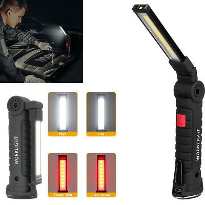 COB LED Rechargeable Work Light Magnet Flashlight with Hook Folding Torch Lamp @