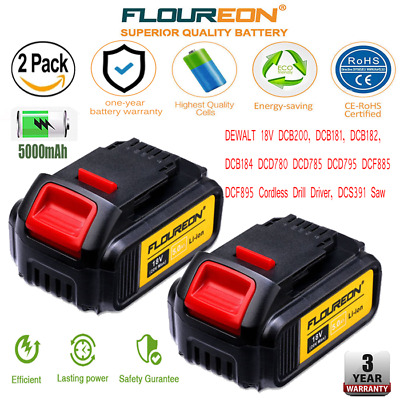 2x 18V 5.0Ah Battery compatible with DEWALT DCB200 DCB181 Cordless Drill Driver