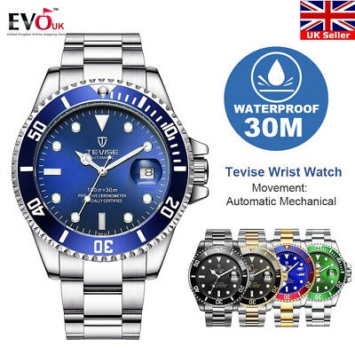 TEVISE Luxury Brand Men Automatic Mechanical Stainless Steel Wrist Watch