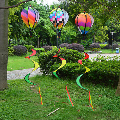 Rainbow Hot Air Balloon Wind Spinner Multi-Colored Striped Windsock Decor