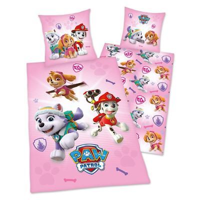 Paw Patrol Pink Single Duvet Cover Set Cotton Childrens Bedding - 2 In 1 Design