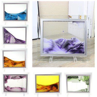 9'' Moving Liquid Sand Painting Art Scenery Picture Photo Frame Home Table Decor