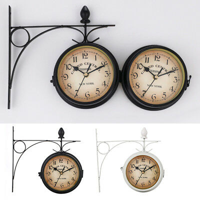 Outdoor Garden Wall Station Clock & Temperature With Bracket, 21.8cm Double Side