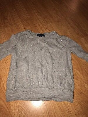 Baby GAP Girls Long Sleeve gray sparkle Shirt Spring Everyday Size XS 4-5 Years