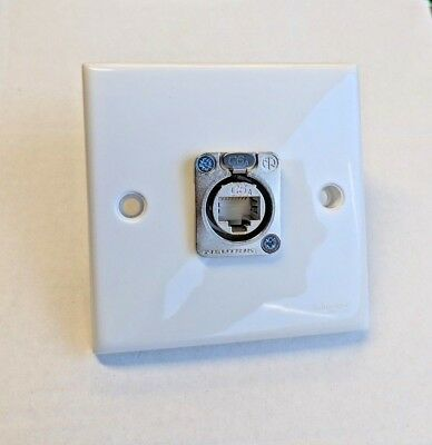 Neutrik White Plastic Wall Plate & 1 x Neutrik NE8FDX-Y6 Cat6A