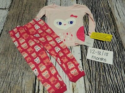 12-18/18 month long sleeve long pant 2 piece pjs owl/pink NWT