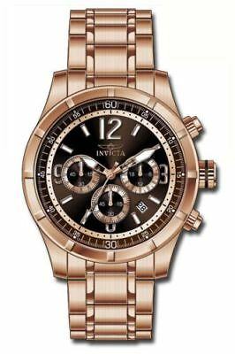 Invicta Speciality Men's 45MM Brown Chronograph Dial Rose Gold SS Bracelet Watch
