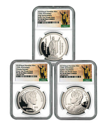 Royal Hawaiian Mint King Kalakaua I 3-Coin 1 oz Silver Medal NGC PF70 SKU56505