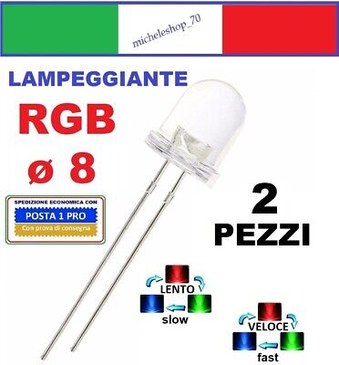 diodo led lampeggiante diametro 8mm lente trasparente, LED flashing diode