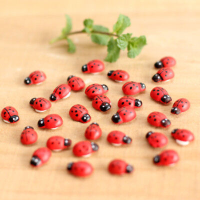 Miniature Dollhouse Fairy Garden Accessories RED Ladybug Clay Decor 50/100 pcs