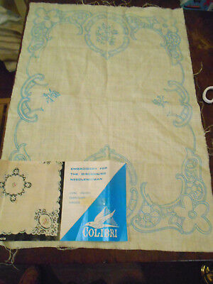 Tray Cloth New Vintage Label Linen Design Embroidery Pulled Thread Scallops