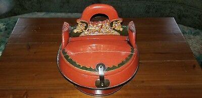 Antique Chinese Red Lacquer Wooden Wedding Celebration Food Box or Rice Basket