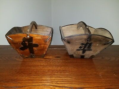 2 Antique Primitive Chinese Rice Baskets