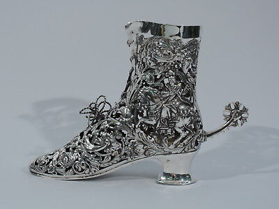 Antique Shoe - Figural Riding Boot - Spur Rotates - German Sterling Silver