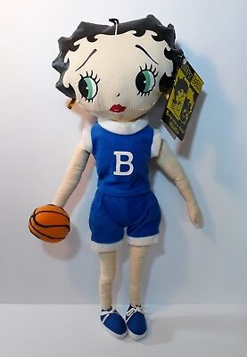 """BETTY BOOP Collectible DOLL TOY 16"""" BOOP PLUSH BLUE OUTFIT basketball"""