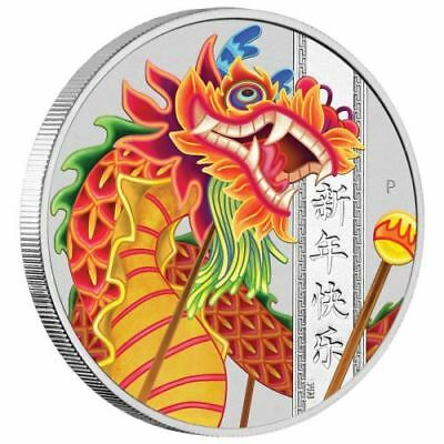 Chinese New Year – Red Dragon – 2019 1 Oz Fine Silver Coin – Tuvalu – Perth Mint