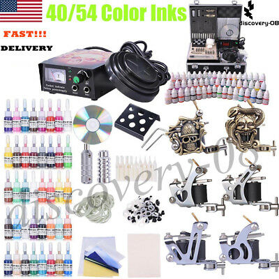 Tattoo Machine Kit Professional 40/54 Color Inks Power Supply Grips Needles Set