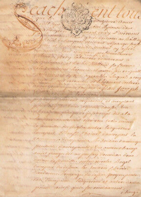 1762 Amazing cap with animal manuscript uppercase letter Nice skin parchment  4p