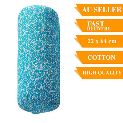 Yoga Prop Bolster Cotton Removable Cover Back Support Fitness 64cm Turquoise
