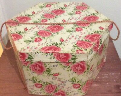 Vintage Hat Box Hexagon Shaped Rose Floral Cardboard Carry Cord