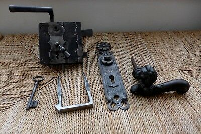 Vintage antique beautiful large metal door lock with key lion handle project X