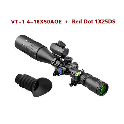 VT-1 4-16X50AOE Illumination Hunting Rifle Scope + 1X25DS Red Dot Tactical Sets