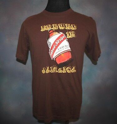 7c01e44515 Red Stripe Beer Men's Medium T Shirt Brewed in Jamaica Brown Graphic Cotton  Tee