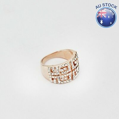 New 18K Rose Gold GF Elegant Crystal Antique Greek Style Ring VINTAGE LOOK