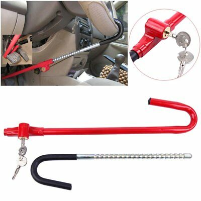 Anti-Theft Steering Wheel Lock TO Pedal Car Truck SUV Auto Van Universal Red KJ