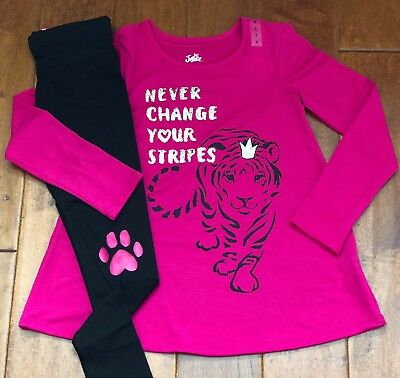 NWT JUSTICE Girls Size 8 Tiger Glitter Swingy Tee/Paw Print Leggings Outfit Set