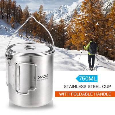 Lixada 750ml Portable Stainless Steel Pot 2-in-1 Water Mug Cup Camping Y6C1