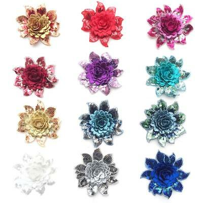 Colorful Sequin Flower Lace Edge Trim Wedding Embroidered Applique Sewing Crafts
