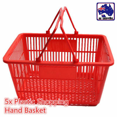 5x Plastic Shopping Hand Basket for Supermarket Fruit Store Business WSB024701*5