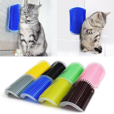 1PC Pet Cat Dog Wall Corner Massage Self Groomer Rubber Comb Toy Brush Cleaner