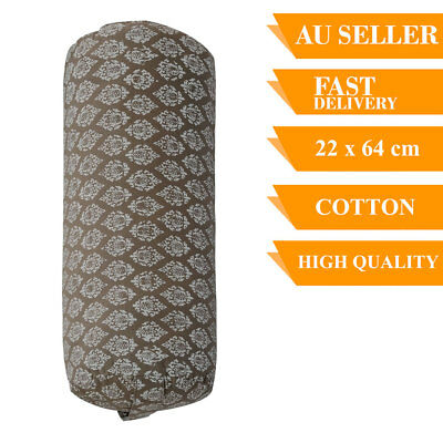 Yoga Prop Bolster Cotton With Removable Cover Back Support Fitness 64cm Grey
