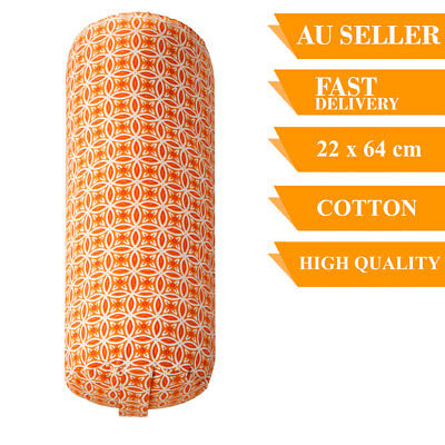 Yoga Prop Bolster Cotton With Removable Cover Back Support Fitness 64cm Saffron