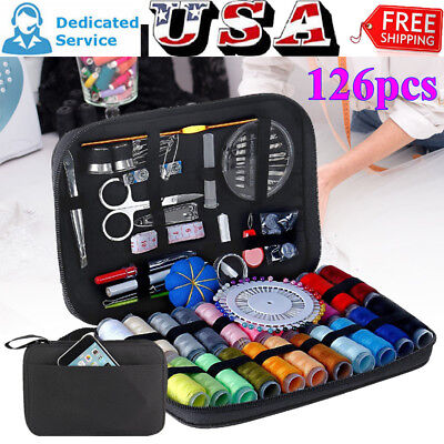 126/134pcs Portable Home Sewing Kit Case Needle Thread Tape Scissor Button Hand