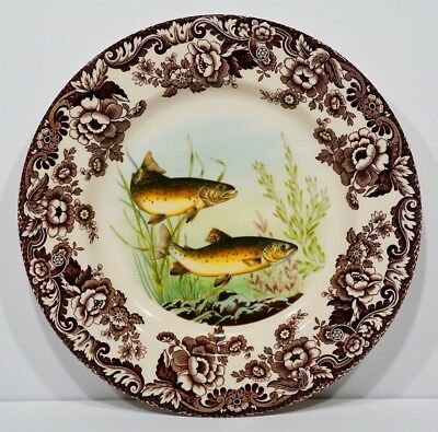 """Spode Woodland North American Fish Trout : Dinner Plate 10 3/4"""""""