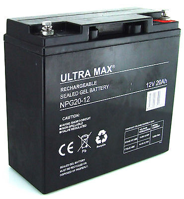 Ultra Max 12V 20AH (Remplacer 17AH 18AH) Batterie Gel Cycle Profond Usage