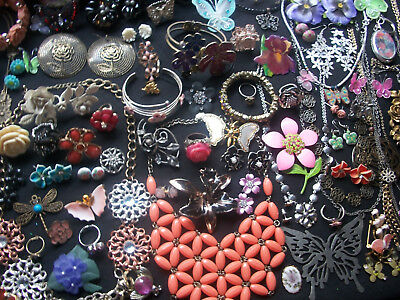 Lot Of Vintage/now Costume Jewelry A Spring Garden Of Flower & Butterfly Pieces