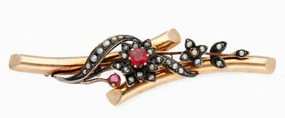 1.60cts ROSE CUT DIAMOND RUBY ANTIQUE VICTORIAN LOOK 925 SILVER BROOCH PIN