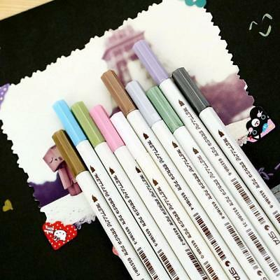 10Colour Metallic Art Marker Fine Liner Coloring Brush Pens Craft School Gift