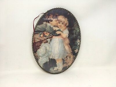 Oval Flue Cover Picture Two Child Boy And Girl And Puppy Chain Frame