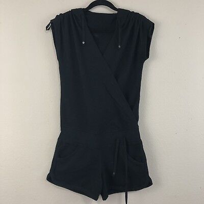9166e1741e22 LULULEMON Size 6 Solid Black Lounge WORK IT One-piece Yoga Hoodie Romper M24