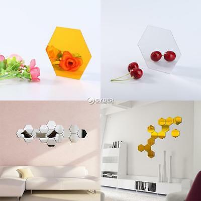 Wall Stickers 12Pcs 3D Mirror Hexagon Vinyl Removable Decal Home Decor Art DIY/