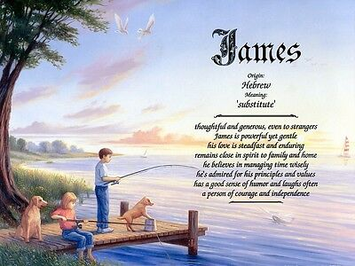 """""""Fishing"""" Name Meaning Prints Personalized (Children)"""