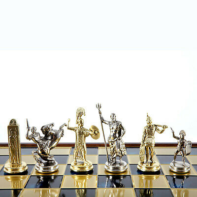 Manopoulos Greek Mythology X-Large Chess Set - Brass&Nickel - Brown chess Board